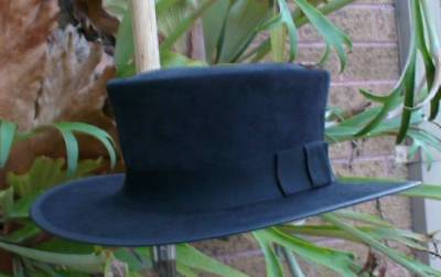 Black Suede Leather Clint Eastwood Style Pale Rider Movie Mens Hat Hand Made