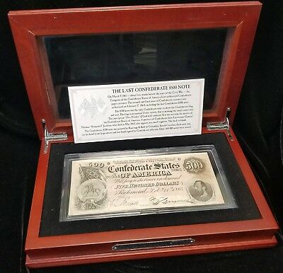 1864 The Last Confederate $500 Note Bill Paper Currency w/ Wooden Display Box