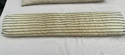 Antique Farmhouse Feather Bolster Pillow Wide Stripe Ticking, Repairs
