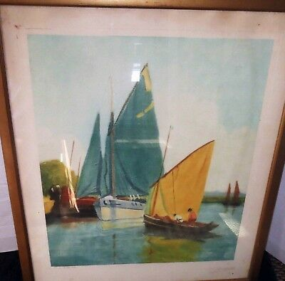 DECHAMPS Antique Etching Print SEASCAPE Signed CAMILLA LUCAS