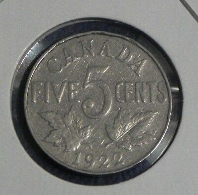 1922 Circulated Canadian Canada Nickel 5 Five Cent George V
