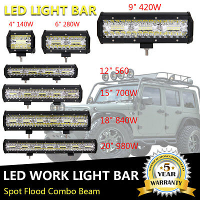 4/6/9/12/15/18/20/32/38/52 inch LED Work Light Bar Driving OffRoad 4WD SUV ATV