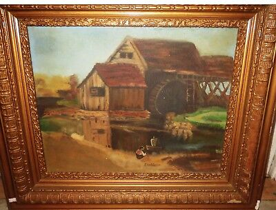 Antique Folk Art Painting Portrait Of Boy With Toy Boat