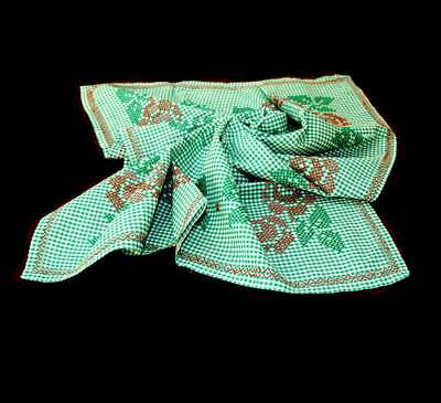 Vintage pretty embroidered green gingham check table supper cloth