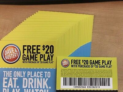 6 Dave and Busters D&B $20 gameplay with $20 Identical Purchase - Exp 02/28/19