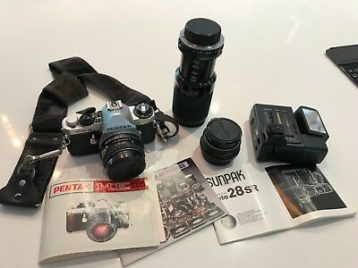 Pentax ME super 35mm SLR camera with 3 lens and flash