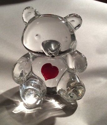 """3.5"""" Heavy Glass Or Crystal Teddy Bear With Red Heart On Tummy (VG) Condition"""