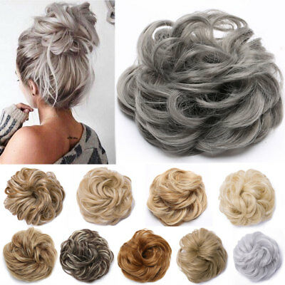Real Natural Curly Messy Bun Hair Piece Scrunchie Hair Extensions Chignon Grey H