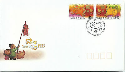 2007 FDC Year of The Pig set of 2 Christmas Island 9 Jan 2007 Special Postmark