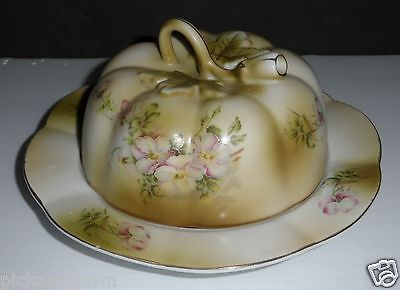 Vtg Nippon Reproduction Hand Painted Apple Blossom Floral Round Butter or Cheese