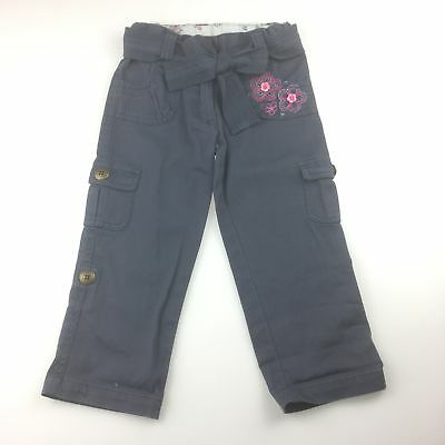 Girls size 2, Target, blue cotton blend cargo pants, embroidered flower, EUC