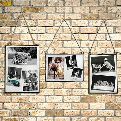 Metal + Glass Double Sided Hanging Photo Picture Frame Vintage Industrial UK