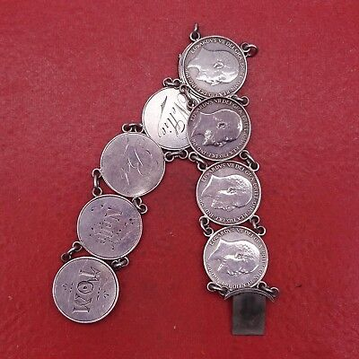 UK United Kingdom Edward VII silver coins bracelet hand chain antique