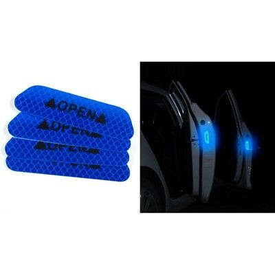 4x Super Blue Car Door Open Sticker Reflective Tape Safety Warning Decal-NEW