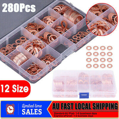 280Pcs 12 Sizes Copper Crush Washers Seal Flat Rings Assorted Washer Kit W/ Box