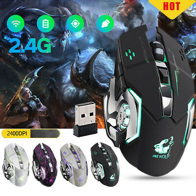 X8 Wireless Rechargeable Silent LED Backlit USB Optical Ergonomic Gaming Mouse