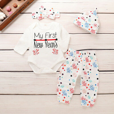 Newborn Baby Girl Clothes My 1st New Year Romper+Pants Hat Headband Outfits Set
