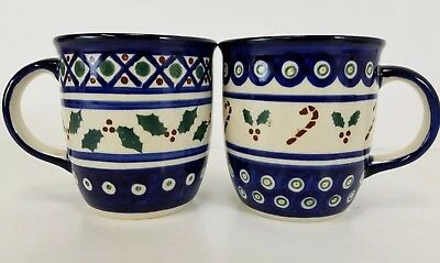 Boleslawiec Polish Pottery Mugs Holly Candy Canes Christmas Holiday 2pc Set Mint