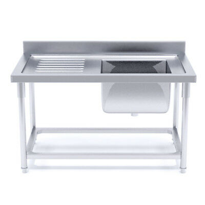 SOGA Stainless Steel Work Bench Right Sink Commercial Restaurant Kitchen