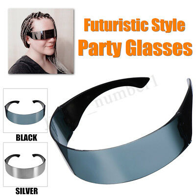 Futuristic Party Glasses Space Robot Occhiali da sole Costume Mirrored Shield