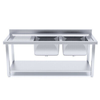 SOGA Stainless Steel Work Bench Right Dual Sink Commercial Restaurant Kitchen