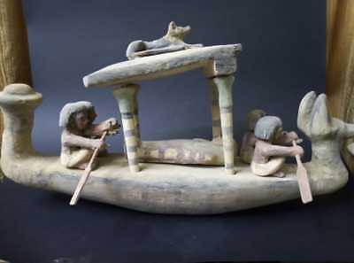 Rare ANCIENT EGYPTIAN ANTIQUE Large WOODEN RIVER BOAT Funerary Practices 1500 BC