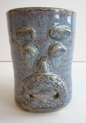 Artist Signed Heavy Hand Thrown Art Pottery Stoneware Blue Face Cup Mug