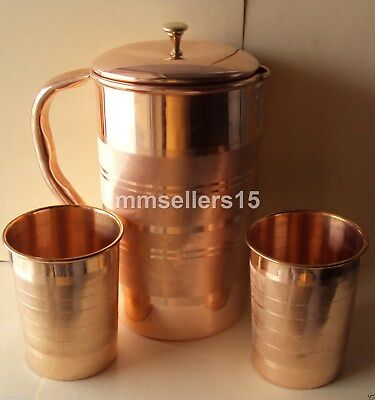 Pure Copper Handmade Jug Water Pitcher 1.5 L & 2 Cups Mug Tumbler 300 ml Storage
