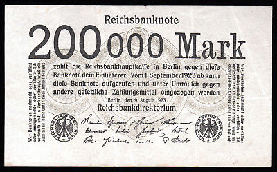 Germany- 200,000 Mark Banknote 1923 P-100 Extremely Fine