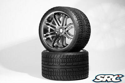 SRC SRC0001S Road Crusher Belted Tire on Chrome 17mm Wheels 1/4 Offset (1 Pair)