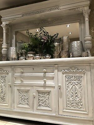 Victorian Solid Walnut Mirrored Carved Sideboard Dresser Marine Carvings