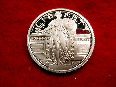 Proof .999 Silver Round Standing Liberty Quarter Design!!  #19***
