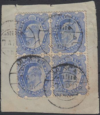 1906 India used in Muscat Oman, Bl/4 2a6p ultramarine on piece SG#Z48 [sr3553]
