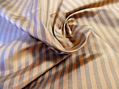 "100% SILK TAFFETA~SMALL STRIPES~DRIFTWOOD/COPPER~12""x27""~ANTIQUE DOLL CLOTHES"