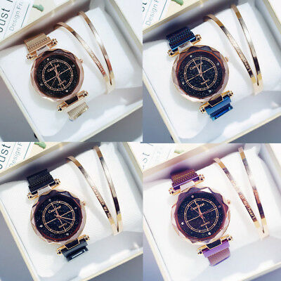 Fashion Women's Starry Sky Simple Wrist Watch Magnet Analog Quartz Watches Gifts