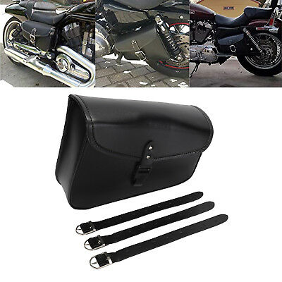1pc Right Motorcycle PU Leather Saddlebag Tool Pouch Side Bag Fit For Harley