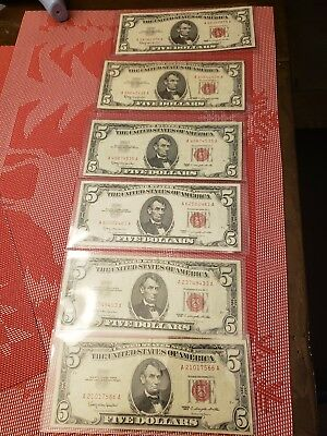 1963 Red Seal 5 Dollar Bill Lot Of  Face Value
