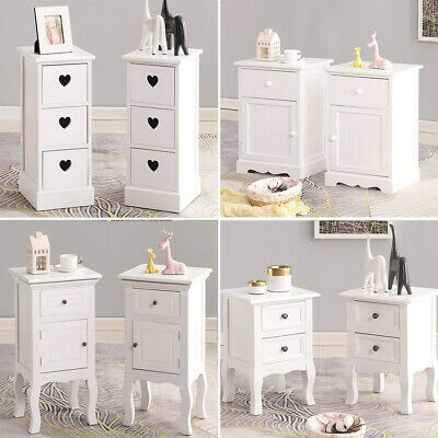 Shabby Chic Wicker Basket Storage Wooden Bedside Cabinet Table Unit