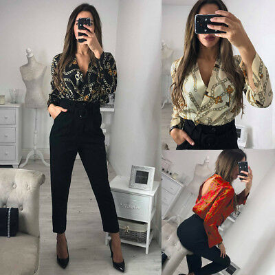 UK Womens Printing Long Sleeve V Neck Backless Jumpsuit Ladies Playsuit Size6-16