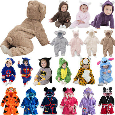 Newborn Baby Boy Girl Animal Pajamas Soft Romper Hooded Jumpsuit Outfits Clothes