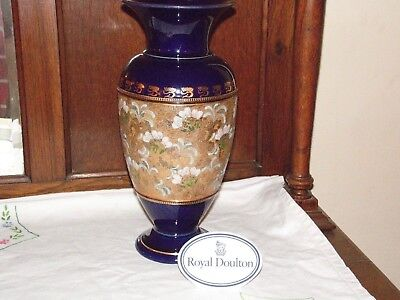 """LARGE ROYAL DOULTON / SLATERS VASE with Blue / White Flowers 13.75"""""""