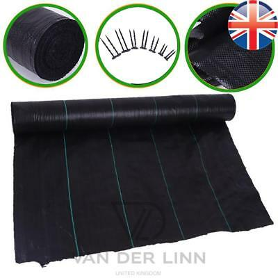 *UK Seller* 3M X 1M~100M 100gsm Weed Control Fabric Membrane Garden Mulch Peg