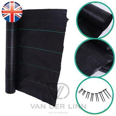 *UK Seller* 2M X 1M~100M 100gsm Weed Control Fabric Membrane Garden Mulch Peg