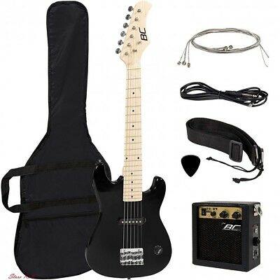 Kids Electric Guitar Boy Black Right Handed Beginners Wood Construction Musical