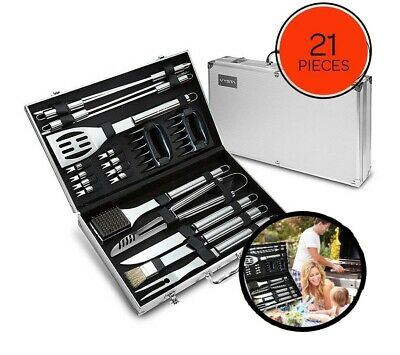BBQ Tools Barbecue Grill Tool Set Kit 19Pcs Stainless Steel With Aluminum Case