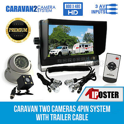 "7"" Monitor Reversing CCD 2 Camera 4PIN Suzy Coil Trailer Cable Caravan Rearview"