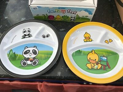 4 x smash babies divided melamine plates panda and duck