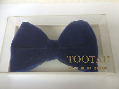 Vintage Blue Velvet Tootal Bow Tie From 1970S In Original Box