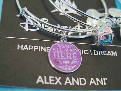 Disney Parks Alice in Wonderland Cheshire Cat Alex and Ani Two Bracelet SILVER
