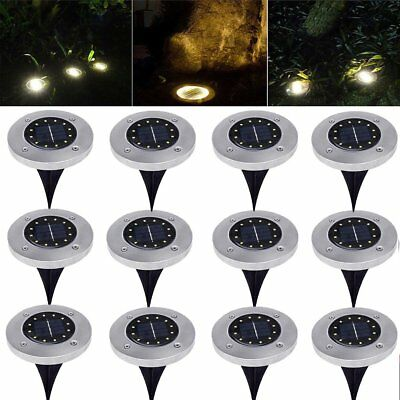 12LED Solar Power Buried Light Disk Lights Outdoor Under Ground White Lamp MY